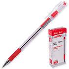 Ручка шариковая красная Berlingo Mega Soft 0.5 мм Корпус прозрачный с грипом